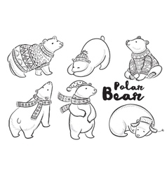outline set with polar bears vector image vector image