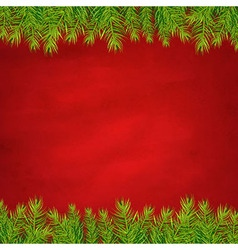 Retro Red Background And Fir Tree Borders vector image