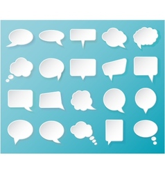 Shiny white paper bubbles for speech on an blue vector image