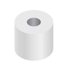 Simple white cartoon toilet paper roll isolated vector