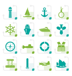 stylized simple marine sailing and sea icons vector image vector image