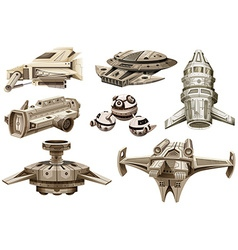 Different designs of spaceships vector