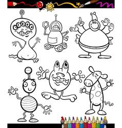fantasy set cartoon coloring book vector image vector image
