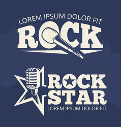 rock star music labels on grunge backdrop vector image vector image