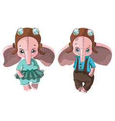 set of cartoon elephants collection of cute vector image vector image