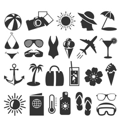 Summer flat icons set isolated on white vector image vector image