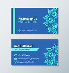 blue green abstract business card template vector image