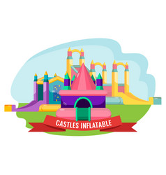 castles inflatable set for summer rest isolated on vector image