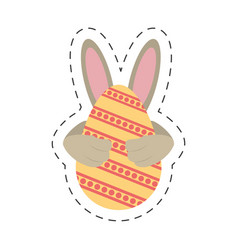 easter egg ear rabbit decoration - cut line vector image vector image