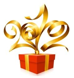 golden ribbon and gift box vector image vector image