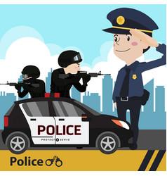 police set cartoon vector image vector image