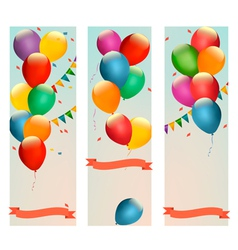 Retro holiday banners with colorful balloons and vector image