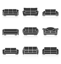 Set of black sofas vector image vector image