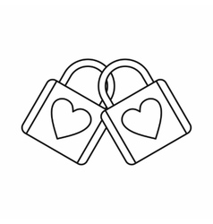 Two locked padlocks with hearts icon vector image vector image