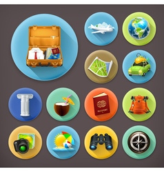 Vacation and Travel long shadow icon set vector image vector image