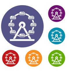 Giant ferris wheel icons set vector