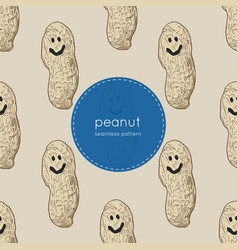 happy peanut seamless pattern vector image