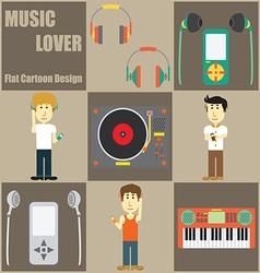 Music Lover People Flat Cartoon vector image vector image