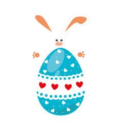 rabbit holding big easter eggs design vector image