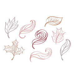 set of doodle sketch style decorative multicolor vector image vector image
