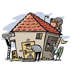 Thieves break into house vector image vector image