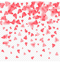 valentines day romantic background of red hearts vector image