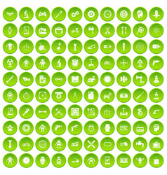 100 gear icons set green circle vector