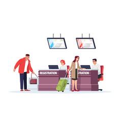 Airport registration desk semi flat rgb color vector
