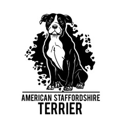 American staffordshire terrier - dog happy face vector