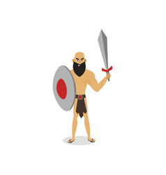 Ancient man gladiator ready to fight stay strong vector