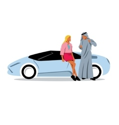 Arab sheikh and a girl model looks near the sports vector