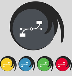 Bezier Curve icon sign Symbol on five colored vector