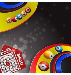 Bingo balls over multi coloured swirl and cards vector