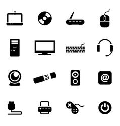 Black computer icon set vector
