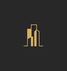 Building shape city realty company logo vector