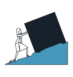 Business woman pushing a block over rock landscape vector