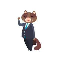 Businessman cat standing with briefcase and waving vector