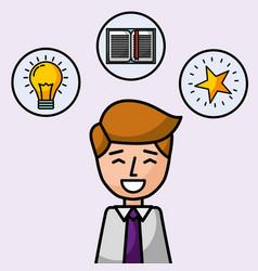 businessman portrait character smiling creativity vector image