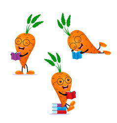 carrot student reading book set vector image
