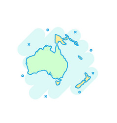 Cartoon colored australia and oceania map icon in vector