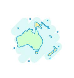 Cartoon colored australia and oceania map icon vector