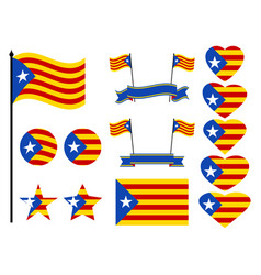Catalonia flag set collection of symbols heart vector