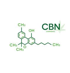 Cbn molecular formula cannabinol molecule vector