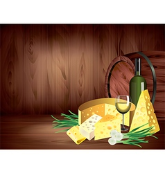cheese wine wood background vector image