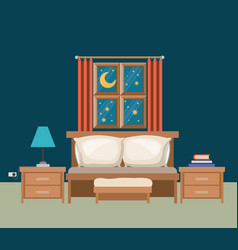 color background of bedroom with window in the vector image