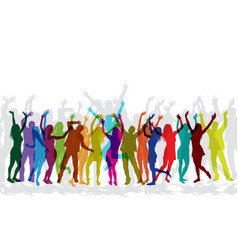 colorful silhouettes people dancing vector image