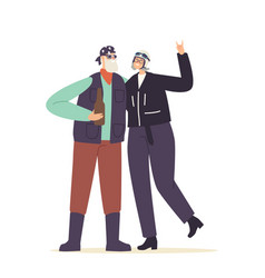 Couple senior bikers in leather clothes and vector