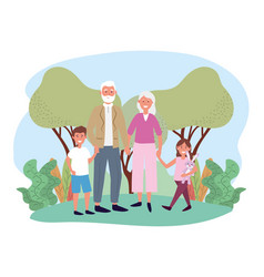 Cute grandfather and grandmother with theirs happy vector