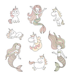 cute little mermaids and magical unicorns set vector image