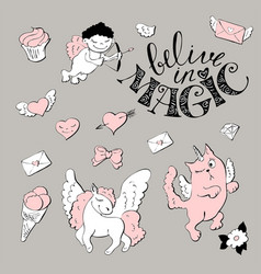 cute princess sticker set with unicorn vector image